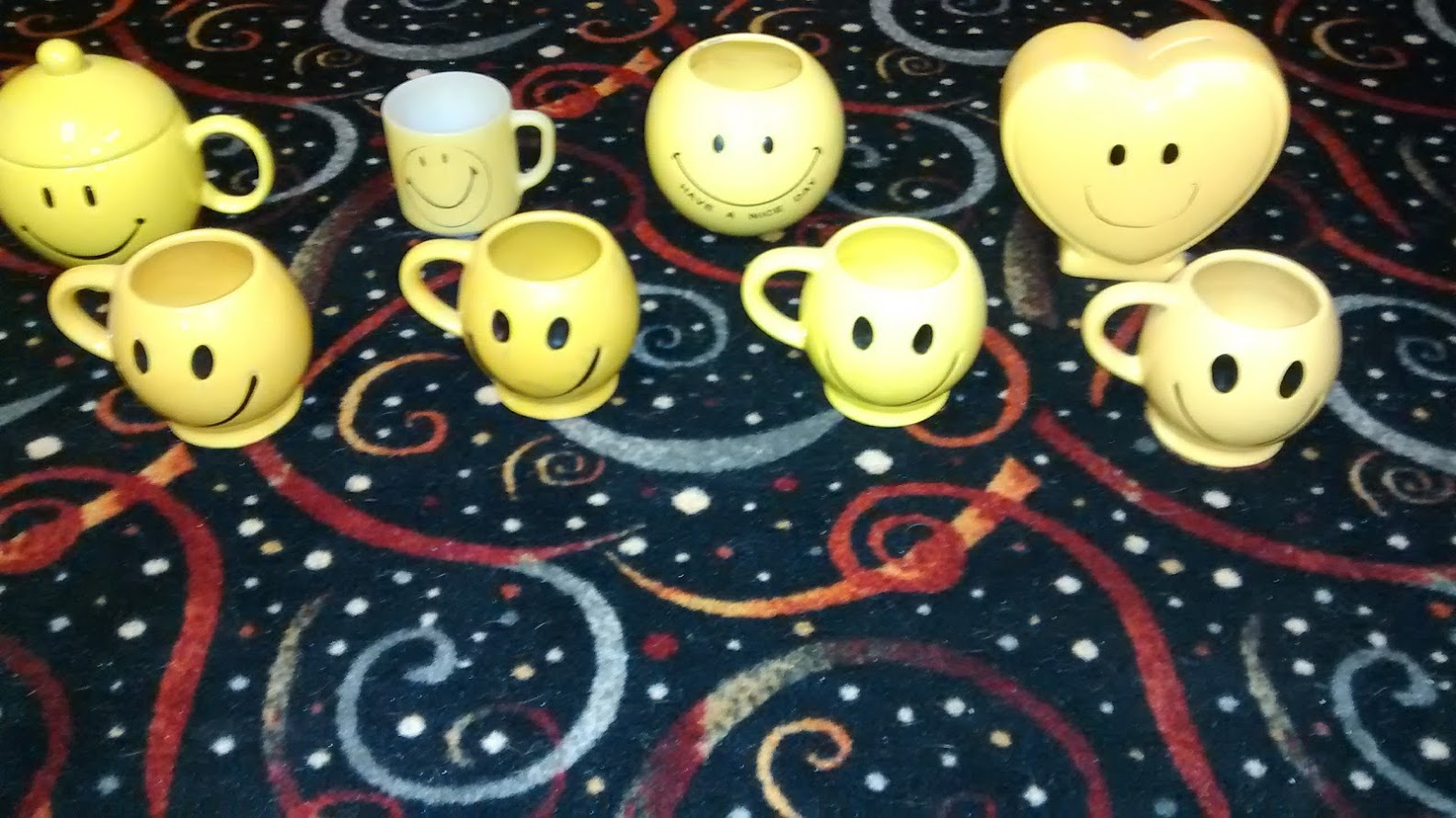 Vintage McCoy Smiley face mugs + others