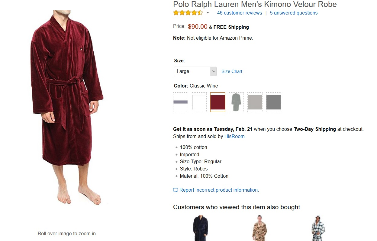 80f96a2bc36 ... new style new polo ralph lauren mens kimono velour robe 96 retail 1a148  6549d
