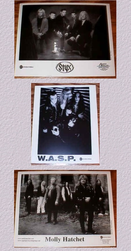 1990's Molly Hatchet, Styx and W.A.S.P. Publicity Photos LOT